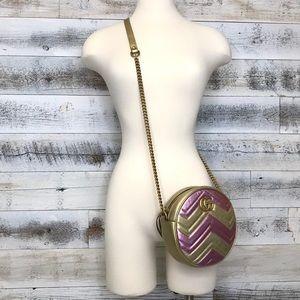 Gucci Metallic Pink Gold Round Marmont Bag 550154